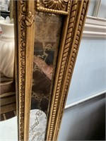 714 - LARGE WALL MIRROR WITH MARBLE BASE TABLE