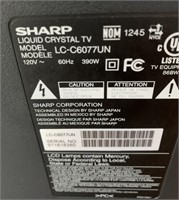 714 - SHARP LIQUID CRYSTAL 60 INCH TV - NO REMOTE