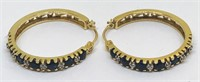 14KT YELLOW GOLD SAPPHIRE AND DIAMOND EARRINGS