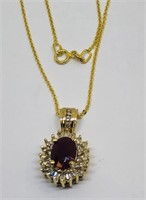 14KT YELLOW GOLD RUBY AND DIAMOND PENDANT WITH