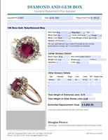 14KT ROSE GOLD 2.25CTS RUBY AND .70CTS DIAMOND