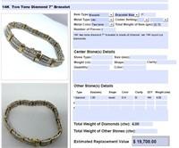 H14KT TWO TONE GOLD 4.00CTS DIAMOND BRACELET