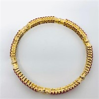18KT YELLOW GOLD 8.00CTS RUBY AND .69CTS DIA.