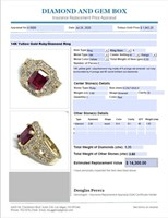 14KT YELLOW GOLD 3.80CTS RUBY AND 1.35CTS DIA.