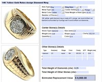 14KT YELLOW GOLD .35CTS ROLEX STYLE DIAMOND RING