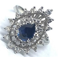 14KT WHITE GOLD .75CTS SAPPHIRE AND .68CTS