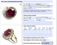 14KT YELLOW GOLD 10.96CTS RUBY AND .80CTS DIA.