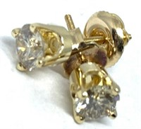 14KT YELLOW GOLD .91 CTS DIAMOND STUD EARRINGS