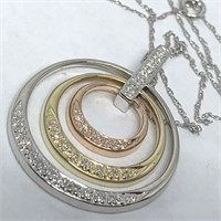 14KT 3 TONE .30CTS DIAMOND PENDANT WITH CHAIN