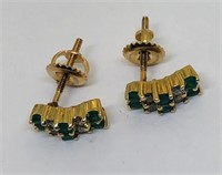 14KT YELLOW GOLD EMERALD AND DIAMOND EARRINGS