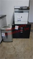 Printer, Paper Shredder, and Small Drawer Cabinet