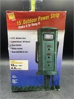 15ft outdoor power strip - new