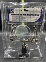 Third hand tool with magnifying glass - new