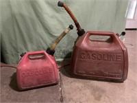 2 plastic gas cans - 5 gallon & 1 1/2 gallon