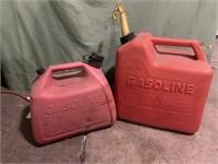 2 plastic gas cans - 2 1/2 gallon & 5 1/4 gallon