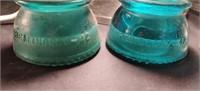 3 Glass Insulators. 2 green Hemingway 42, & clear