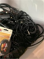 Tote of cords, wires, and more