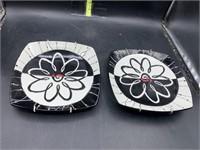 2 black n white decorative plates- 8in