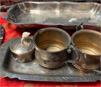 348 - LOT OF SILVERPLATED TRAYS & CUPS