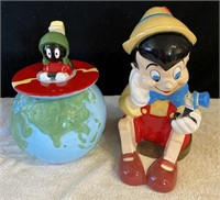 MARVIN THE MARTIAN & PINOCCHIO COOKIE JARS - AS IS