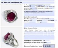 18KT WHITE GOLD 5.80CTS RUBY AND 1.40CTS DIAMOND