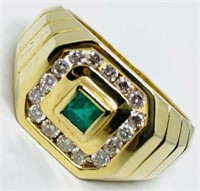 14KT YELLOW GOLD .25CTS EMERALD AND .50CTS DIA.