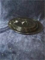 Set of 5 plates. Black with decorative swirl.