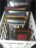 Lot of 11 different size picture frames. Most of