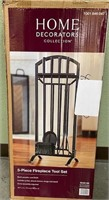 11 - NEW 5 PIECE FIREPLACE TOOL SET IN BLACK