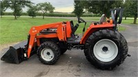 2002 Agco ST35 Tractor, w/SL46 FE Loader, 4x4, 35-hp, diesel eng, 3-pt, pto, 761.5 hrs, runs good, SN: JL45006.  NOTE: This item will be sold at live auction, however absentee bids can be placed if you are unable to attend the auction. More details, video & pictures can be viewed by clicking the catalog tab and view Lot #2.