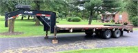 2002 Delta Flatbed Trailer, GN, 25', 12K# axles, new floor, ramps, LED lights, has title.  NOTE: This item will be sold at live auction, however absentee bids can be placed if you are unable to attend the auction. More details & pictures can be viewed by clicking the catalog tab and view Lot #3.