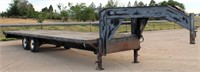 1993 PJ, GN Flatbed, 7,000 lb tandem axles, 8' x 27', w/ramps, has title.  NOTE: This item will be sold at live auction, however absentee bids can be placed if you are unable to attend the auction. More details & pictures can be viewed by clicking the catalog tab and view Lot #7.
