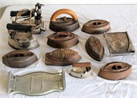 Vintage Irons and Holder/Trivets