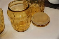 AMBER DEPRESSION GLASS - 2 STORAGE CONTAINERS