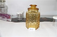 AMBER DEPRESSION GLASS - STORAGE CONTAINER