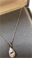 """Sterling Silver Diamonique 18"""" Chain w/Charm"""