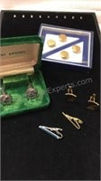 Vintage Cuff Links, Tie Clips and Button Mates -