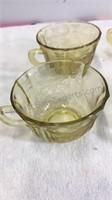 Vintage Yellow Glass Cream & Sugar and 6 Mug Set