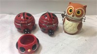 Owl & Lady Bug  Ceramic Containers/Jars