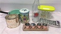 Assorted Kitchenware - Tins, Bottle, Ice Cube