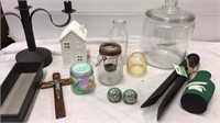 Glass Jar, Spartan Cozie and other Assorted Decor
