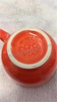 Fiesta Orange 4 Cup & Saucer Set