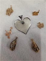 Sterling Silver Heart Pin & Assorted Gold Plated