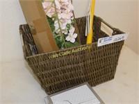 Basket with Pink Floral Silk Flowers, Milestone