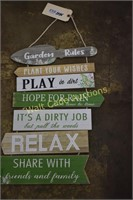 """Garden  Rules hoe decor approximately 27"""""""