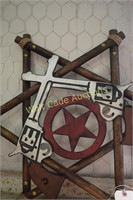 Wooden Star with double guns decor approximately