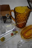 Amber and Vintage Glassware lot of 11 pieces