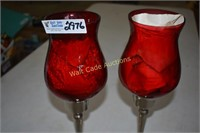 Candle Holders Red Glass and Metal approximately