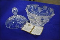 Shannon Crystal lot of 3 Serving Dishes and Vase