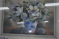 """Framed Art Flowers in Vase approximately 22""""x18"""""""